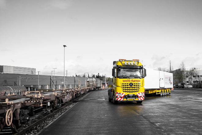 Pistor-Kühlcontainer Ackermann Spezialtransport Welti-Furrer