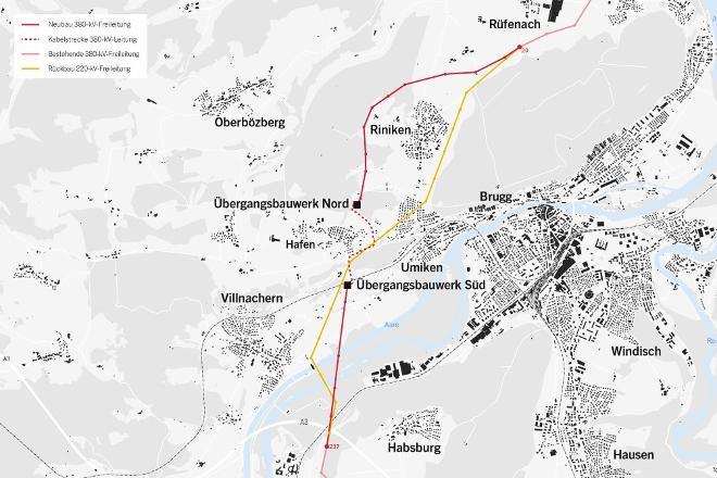 Spezial Auflieger BKAG Hochspannungsleitung Riniken
